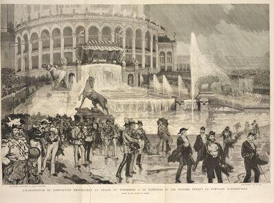 Daniel Vierge, 'L'inauguration de l'exposition universelle au Palais du Trocad'ro: le mar'chal et les princes devant la fontaine monumentale', 1878