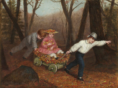 Enoch Wood Perry Jr., 'Collecting Autumn Leaves', 1868