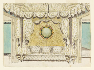 Frederick Crace, 'Design for Bed with Tented Alcove, probably for the Prince of Wales's Bedroom or Boudoir, Royal Pavilion, Brighton', ca. 1801-1804