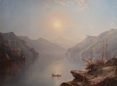 George W. Waters, 'River Landscape at Daybreak', 1865