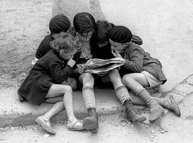 Fred Stein, 'Children Reading the Newspaper (Paris)', 1936