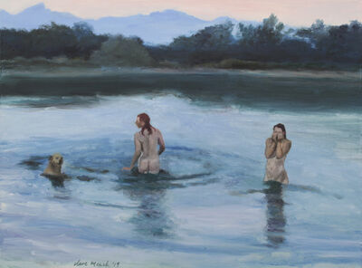 Clare Menck, 'Bather couple with labrador, at dusk', 2019