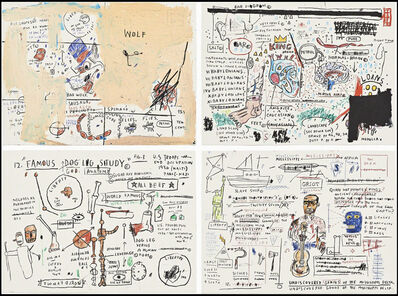 Jean-Michel Basquiat, 'Wolf Sausage, King Brand, Dog Leg Study and Undiscovered Genius ', 1982-1983