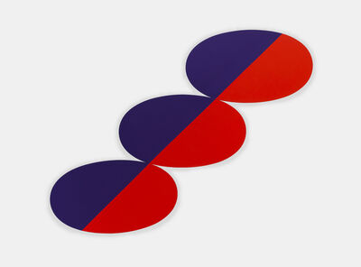 Leon Polk Smith, 'Constel: Blue Red straight line thru three Ovals', 1969