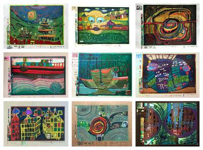 Friedensreich Hundertwasser, 'Regentag (portfolio)', 1971-1972