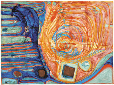 "Friedensreich Hundertwasser, '""Junge Sonne verschönt durch Krankheitsymptome"" (The Symptoms of the Illness Beautify the Sun)', 1957"