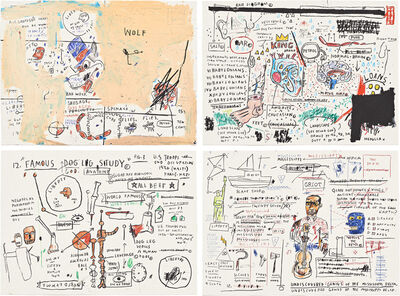 Jean-Michel Basquiat, 'Wolf Sausage, King Brand, Dog Leg Study, and Undiscovered Genius', 1982-1983
