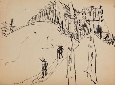 Ernst Ludwig Kirchner, 'Zwei Bauern an Strommasten im Gebirge (Two farmers at power poles in the mountains)', 1922