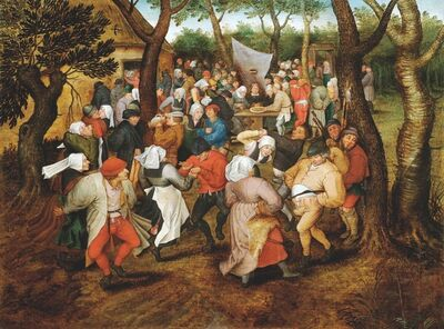 Pieter Bruegel the Younger, 'The wedding dance outside', 1614