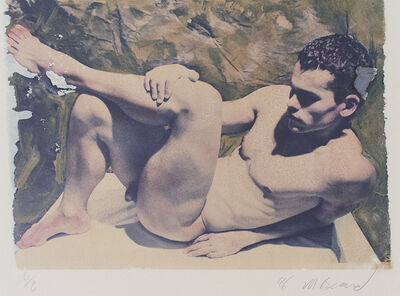 Mark Beard, ' Untitled 7 (Polaroid Transfer of Young Nude Man Laying Down on Rives BFK)', 1996