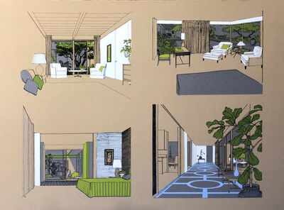Carlos Diniz, 'Monarch Bay Homes, Four Interior Details (Ladd and Kelsey) (tan)', 1961