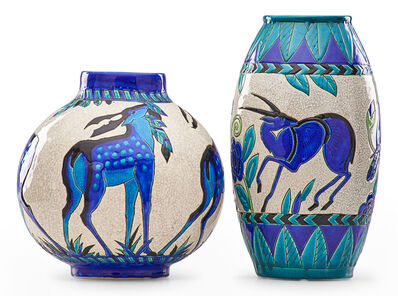 Charles Catteau, 'Two Art Deco crackleware Keramis vases with stylized antelope'