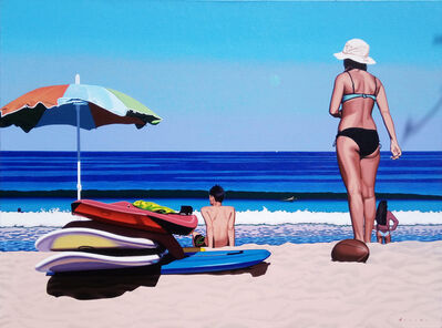 "Rob Brooks, '""Beach Day"" photorealistic oil painting of a woman at the beach with deep blue ocean', 2010-2018"