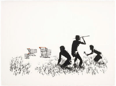 Banksy, 'Trolleys (Black and White) - Unsigned', 2007