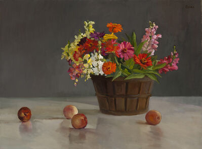 Maryann Lucas, 'Zinnias, Snapdragons and Fruit', 2017
