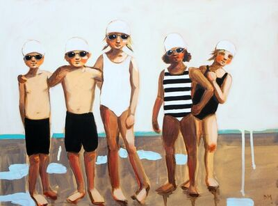 "Debbie Miller, '""Playing Nice"" oil painting of boys and girls in black, white and striped swimsuits', 2019"