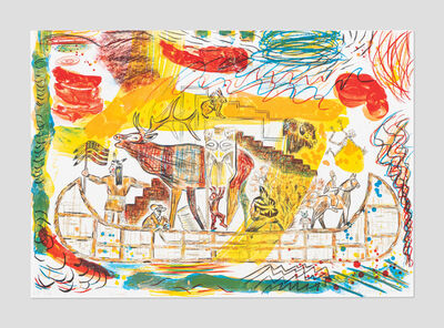 Jaune Quick-to-See Smith, 'Trade Canoe: A Western Fantasy', 2015