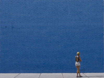 Richard Combes, 'Woman and Blue Wall', 2018