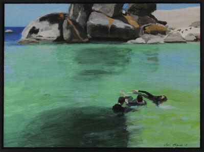 Clare Menck, 'Three bathers in emerald seawater  ', 2018