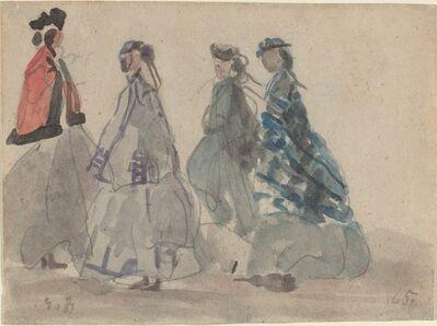 Eugène Boudin, 'Four Women at Trouville', 1865
