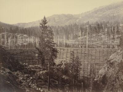 Carleton E. Watkins, 'Rudyard (English) Reservoir. Central Dam 114 feet high, Timber Crib and Stone Filling', 1871