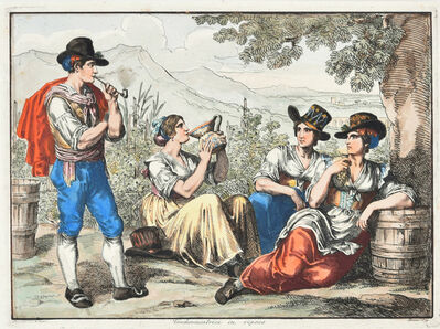 Bartolomeo Pinelli, 'Grape Harvesters at Rest', 1819