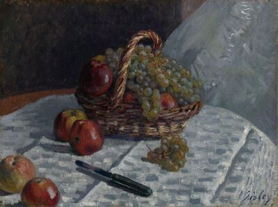 Alfred Sisley, 'Apples and Grapes in a Basket', 1880-1881