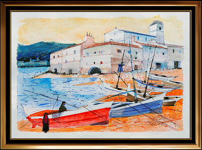 Charles Levier, 'Charles Levier Large Original French Seascape Gouache Painting Signed Artwork', 20th Century