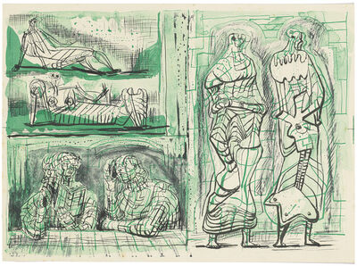 Henry Moore, 'Two Standing Figures with Studies on the Left', circa 1950
