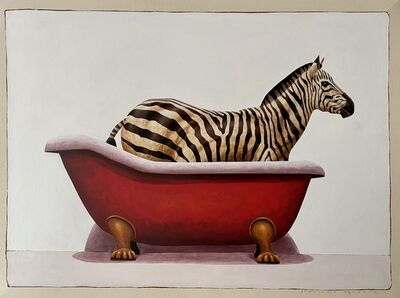"Santiago Garcia, '""Andante #735"" oil painting of a zebra in a red clawfoot bath tub', 2020"