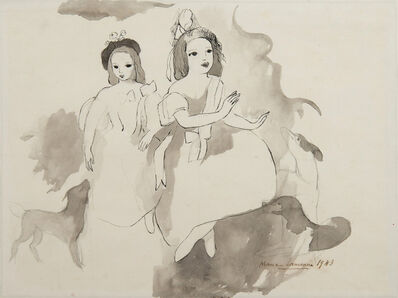 Marie Laurencin, 'Deux fillettes aux chiens', 1943