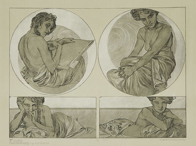 Alphonse Mucha, 'Plate 25 (From Figures Décoratives)', 1905