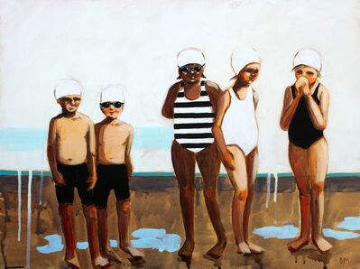 """Debbie Miller, '""""Morning Dew"""" oil painting of boys and girls in black and white and striped swimsuits', 2019"""