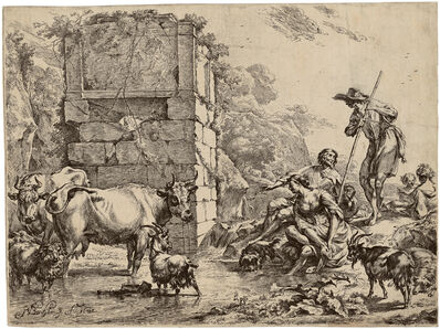 Nicolaes Pietersz Berchem, 'Cow Drinking', 1680