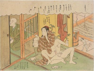 Suzuki Harunobu, 'Elegant Erotic Mane'emon: 8, Blind Shamisen Player at Ikaho in Kozuke', ca. 1770