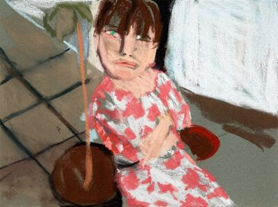 Chantal Joffe, 'Esme in a Pink and White dress II', 2016