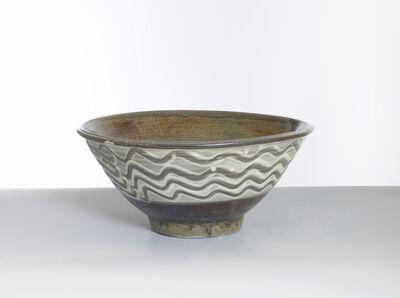 Onda Yaki, 'Bowl with Yubigaki (Finger Drawn) Design in White Slip', n/a