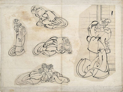 Attributed to Katsushika Hokusai (or Katsushika Oi), 'sketches of women', ca. 1820s-30s