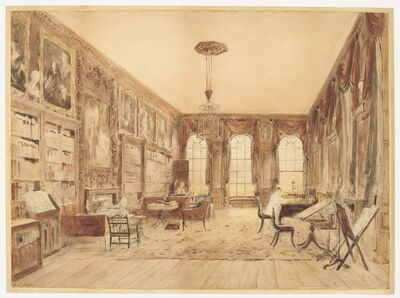 Augustus Charles Pugin, 'The Interior of the Library at Cassiobury', Before 1816