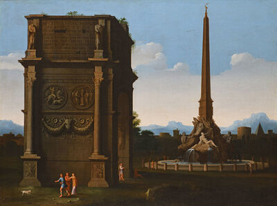 Thomas Blanchet, 'Architectural Capriccio with the Fountain of the Four Rivers', 1651-1654