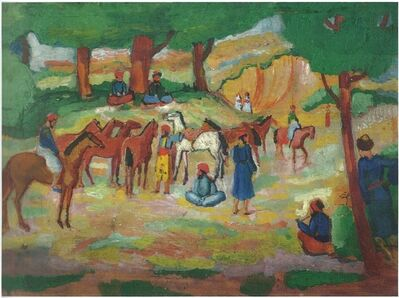 August Macke, 'Encamped Oriental Horsemen (after Guys) (Lagernde Orientalische Reiter (nach Guys))', 1910