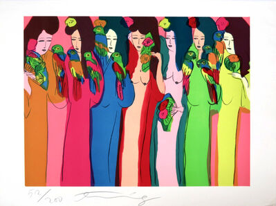 Walasse Ting 丁雄泉, 'Geishas aux perroquets ', 1982