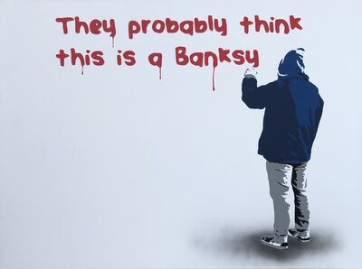 Plastic Jesus, 'They Probably Think This Is A Banksy - Stencil 1/3 - Blue version', 2017