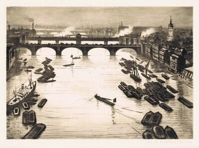 Christopher Richard Wynne Nevinson, 'London Bridges ', 1920