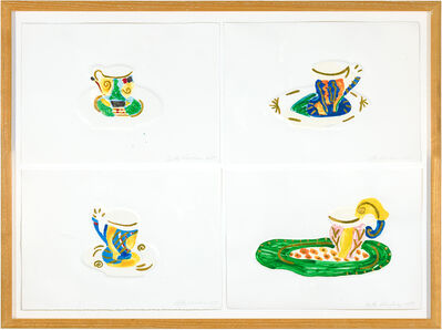 "Betty Woodman, 'Suite of 4 ""Teacup"" Monoprints with Gold Leaf', 1989"