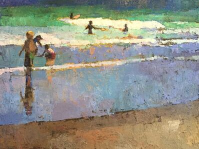 "Larry Horowitz, '""Tidal Play"" oil painting of kids playing at the teal blue shore', 2020"