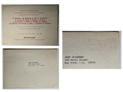 "Keith Haring, '""The Pressure To Paint"", Marlborough Gallery NYC, Group Exhibition Invitation/Mailer', 1982"