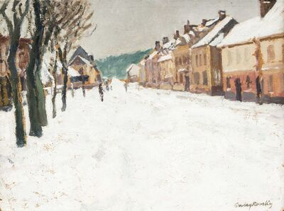 Alfred Swieykowski, 'Village enneigé', executed in 1907