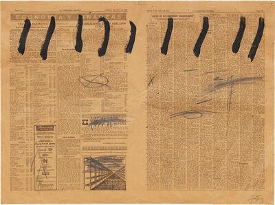Antoni Tàpies, 'Paper de diari amb nou ratlles (Newsprint with nine strokes)', 1969