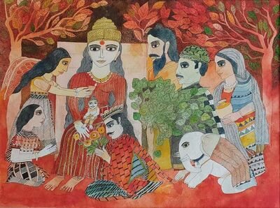 """Badri Narayan, 'The Birth of the Buddha, Watercolor on Paper, Red, Green by Indian Padmashree Artist """"In Stock""""', 2011"""